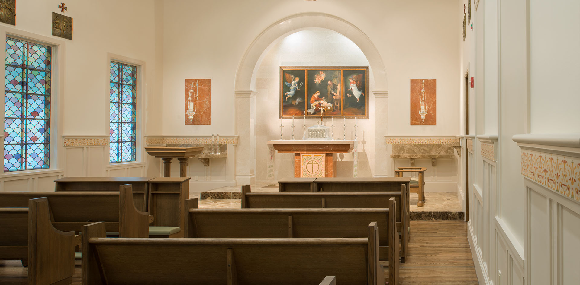 Chapel Award winning Opus Dei, Oratory, Sacristy, liturgical space, young women, daily mass, exposed beams, stained glass, altar mosaic inlay
