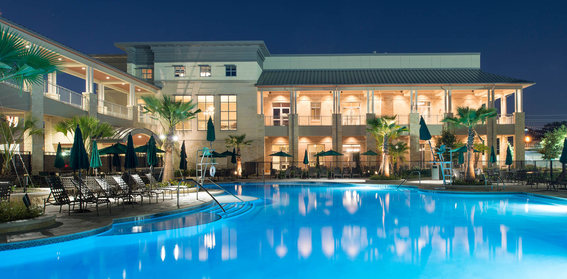 The Briar Club pool at night 2